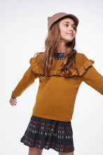 Load image into Gallery viewer, Coco Au Lait MUSTARD FLOUNCED SWEATER Sweater Golden Brown