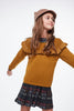 Coco Au Lait MUSTARD FLOUNCED SWEATER Sweater Golden Brown