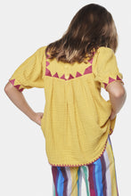 Load image into Gallery viewer, Coco Au Lait Yellow Tarahumara Blouse Tunic Yolk Yellow