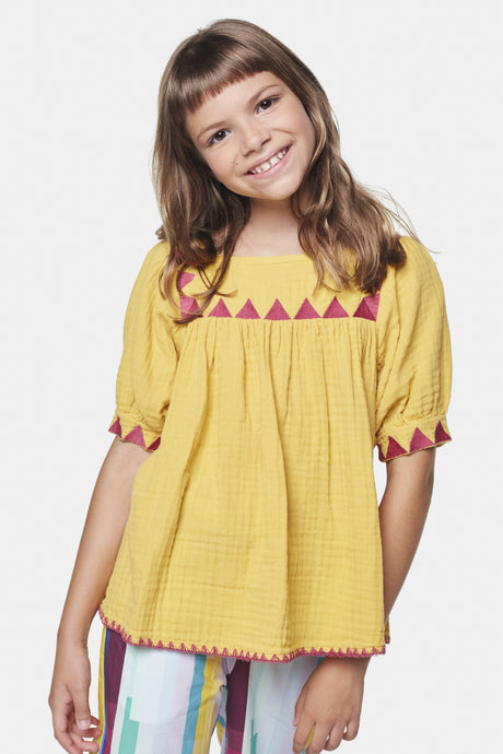 Coco Au Lait Yellow Tarahumara Blouse Tunic Yolk Yellow