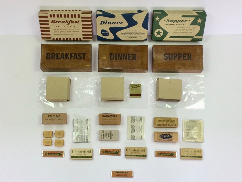 U.S. K Ration and  British 24 Hour ration boxes