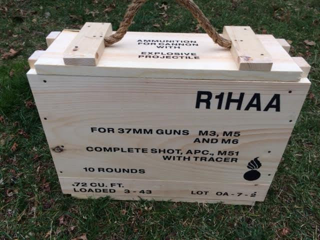 WW2 37mm Ammunition 10 Round Wooden Packing Crate.