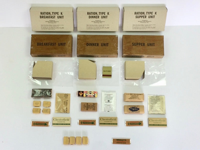 Reproduction WW2 Morale K Ration Boxes and inner component wrappers