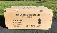 WW2 .45 Caliber Wooden Ammunition Crate