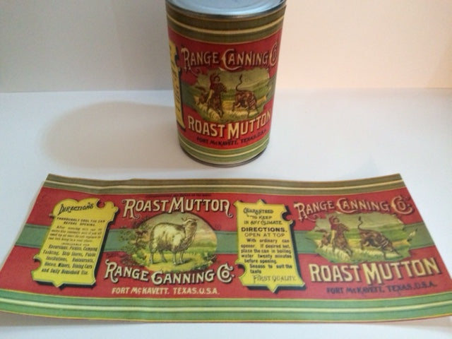 Reproduction WW1 Range Canning Co. Roast Mutton Can Label