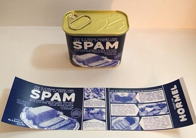 Reproduction WW2 Hormel Spam Can Label
