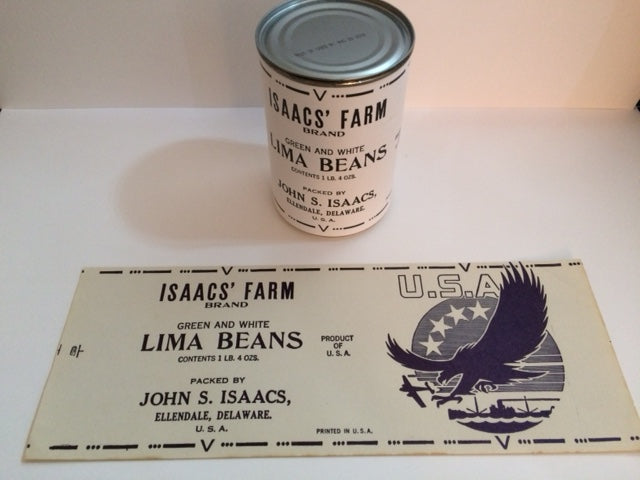 Reproduction WW2 Isaacs Brand Lima Beans Can Label