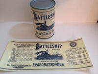 Reproduction WW1 Battleship Brand Condensed Milk Can Label