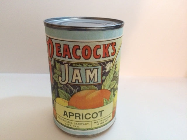 Reproduction WW1 Peacocks Apricot Jam Can Label