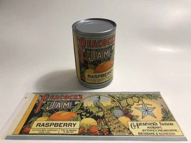 Reproduction WW1 Peacocks Raspberry Jam Can Label