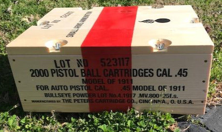 WW1 .45 Caliber 1911 Automatic Pistol Wooden Ammunition Crate