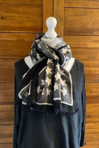 Grey and Black Star scarf