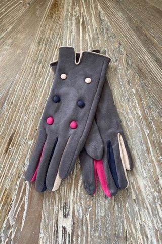 Muti coloured button Faux suede Gloves