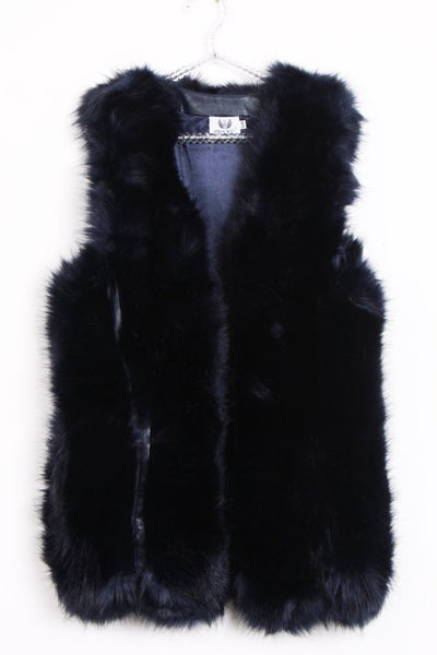 Fabulous Thick fluffy Faux Fur Gilet Navy
