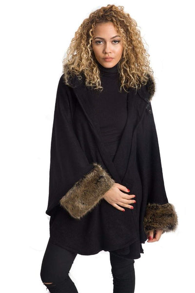 Black Faux Fur Hooded Swing Poncho/cape