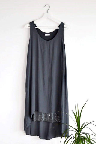 Long sleeveless top/dress with fabulous sequin panel