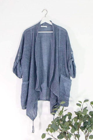 Navy Lagenlook Linen waterfall jacket