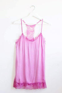 Hot pink Lace trim Camisole/vest top