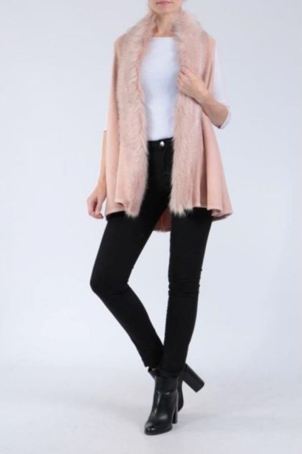 Faux Fur trimmed knitted gilet
