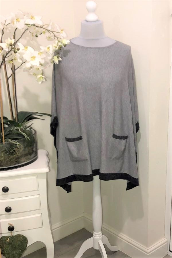 Grey Lucy poncho- two pockets