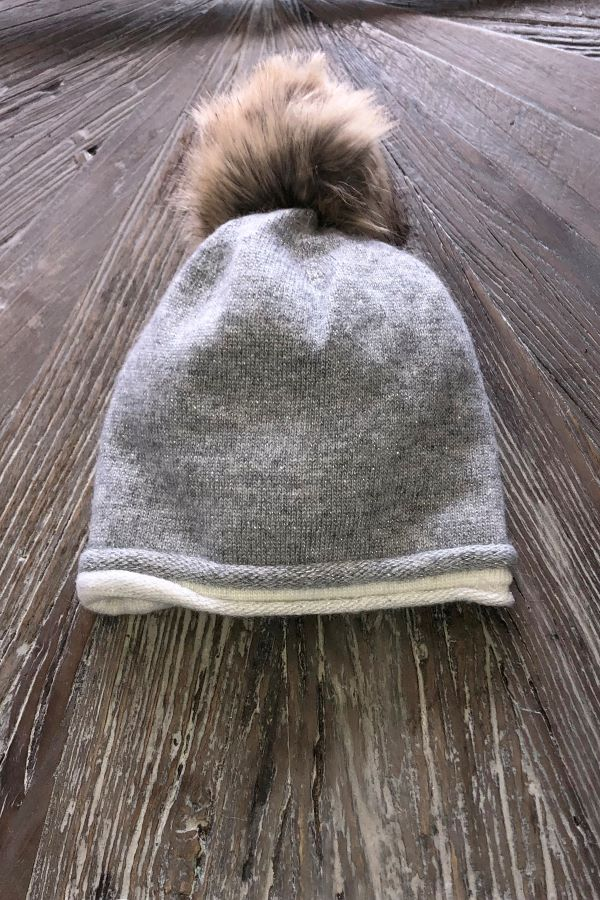 Grey with sparkle Pompom Hat -Faux Fur