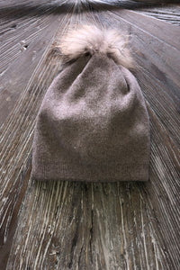 Toffee   pompom hat