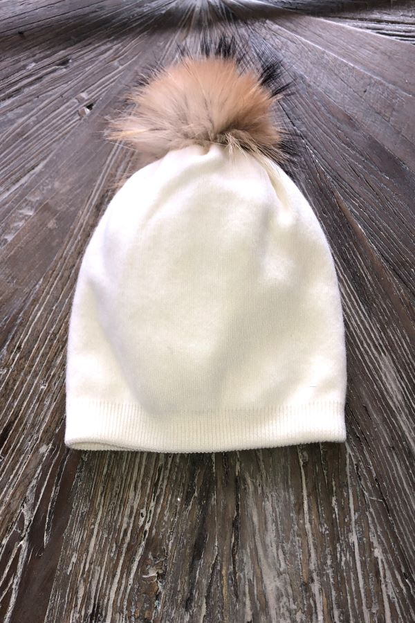 Winter white   pompom hat