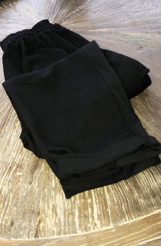 Black Cotton Jersey Baggy Trousers with side panel and pockets