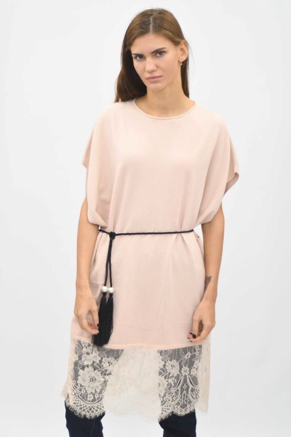 Blush pink Lace Hem Tunic Knitted Top