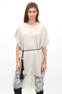 Lace Hem Knitted Tunic Top Natural