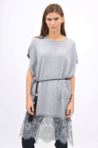 Lace Hem knittedTunic Top Grey