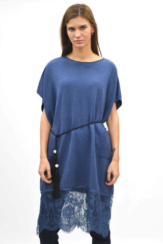 Fabulous Lace Hem Tunic Top Blue
