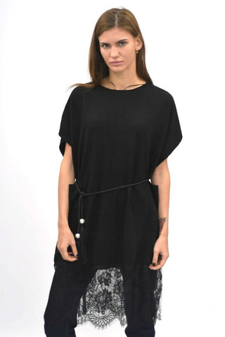 Fabulous Lace Hem Tunic top black