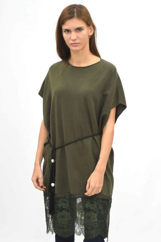 Lace Hem Knitted Tunic Top Green