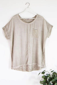 Sequin Pocket Cotton Mix Top