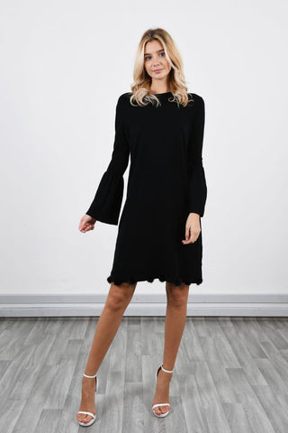 Black Bell sleeve Pom Pom dress