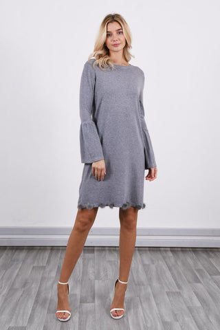 Grey Bell sleeve Pom Pom Dress