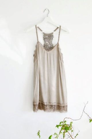 Taupe Camisole /Vest Top with Lace Trim
