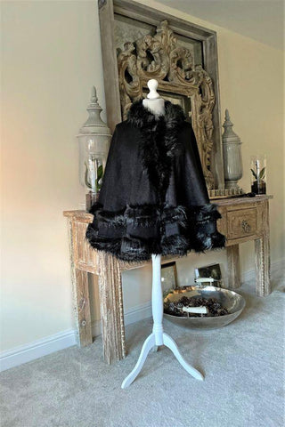 Black Faux Fur Hooded Swing Poncho