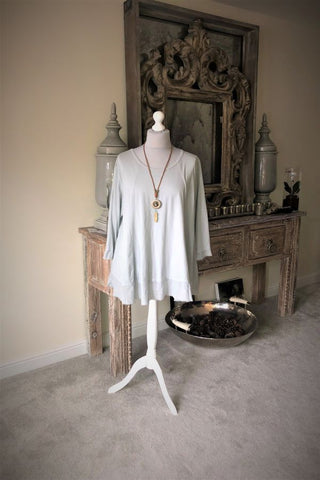 Grey Lagenlook Necklace Top