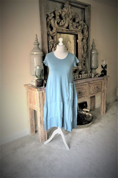 Blue Jersey Lagenlook Pocket Dress