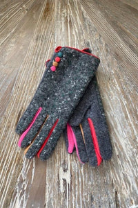 Tweed Gloves with multi coloure button detail and fingers