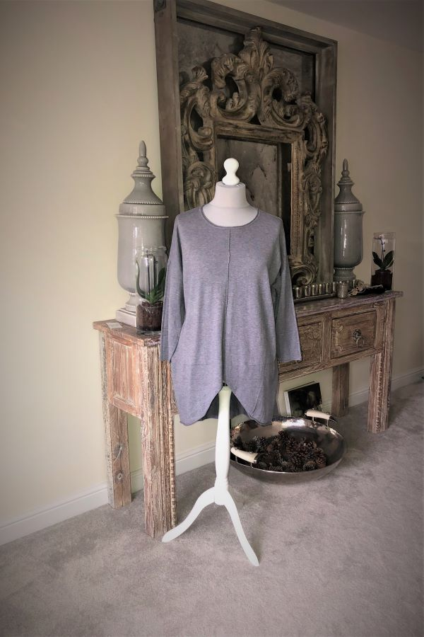 Grey Shaped hem longline Jumper