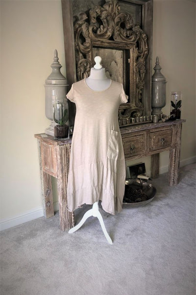 Natural Jersey Lagenlook pocket dress