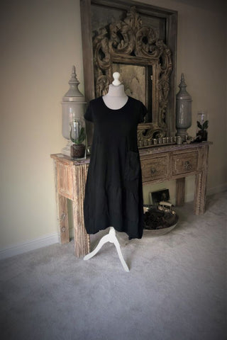 Black  Jersey Lagenlook pocket dress