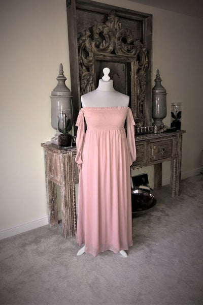 Blush Pink Off the Shoulder Chiffon Maxi Dress