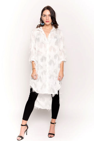 White Oversized Shirt Dress With Feather Tassel Look Embroidery