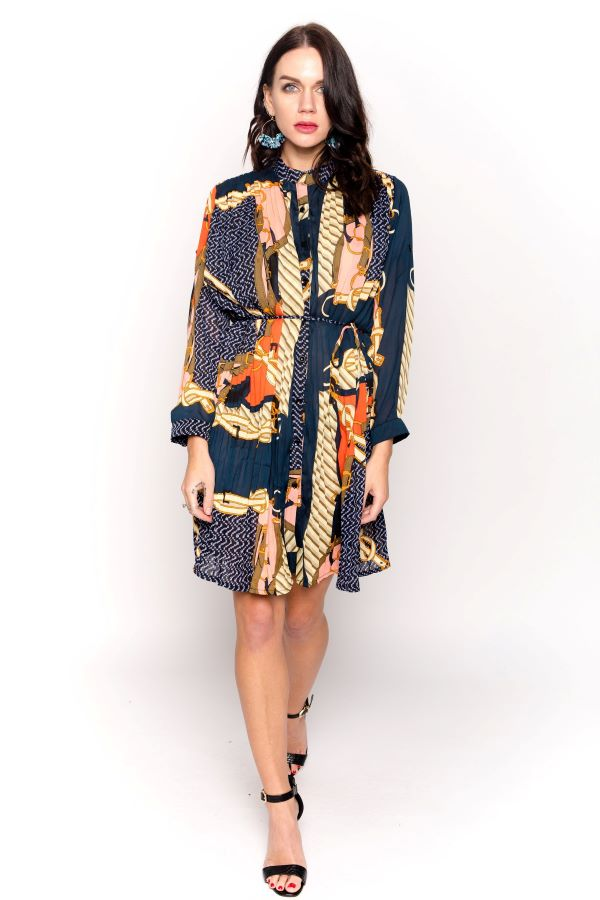 Scarf Printed Pleated Dress with Belt Fastening