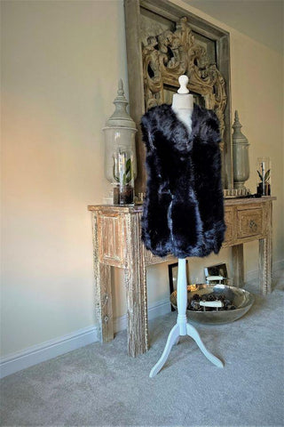 Thick fluffy Faux Fur Gilet Navy