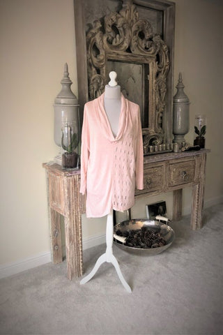 Delicate fine knit pale pink cowl neck jumper with detailing